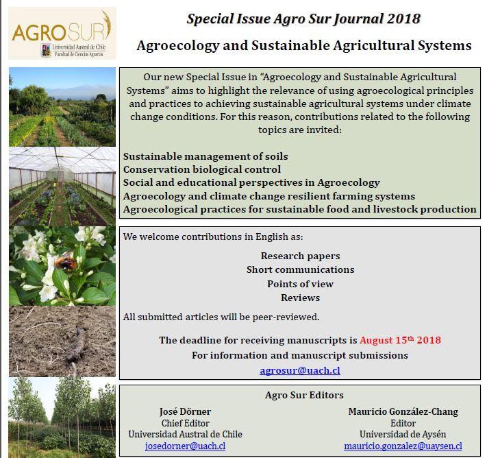 Revista Agro Sur prepara nueva edición especial sobre Agroecología y Sistemas Agrícolas Sostenibles
