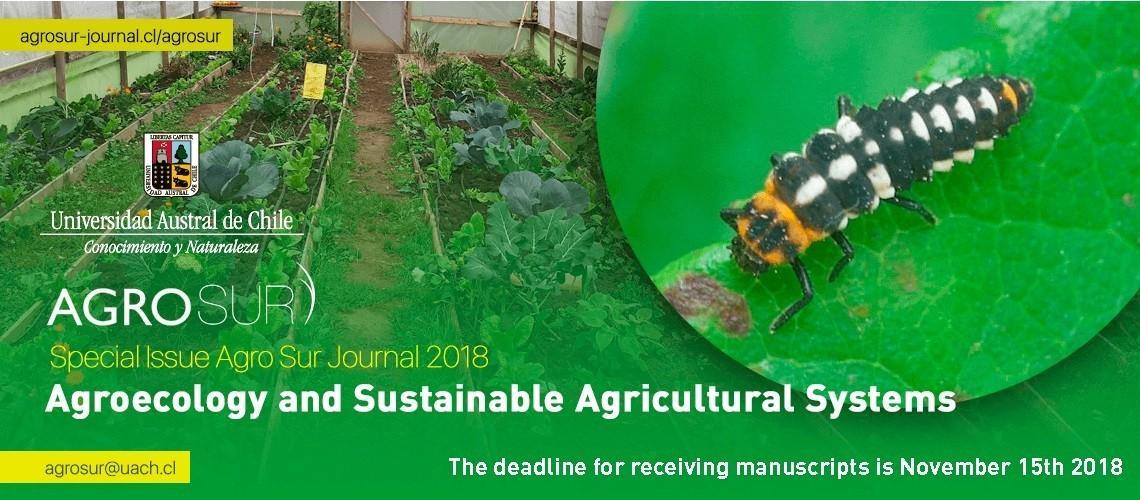 Revista Agro Sur amplía plazo para recibir trabajos de edición sobre agroecología y sistemas agrícolas sostenibles